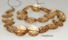 20MM  SMOKY QUARTZ GEMSTONE FACETED FLAT ROUND LOOSE BEADS 6.5""