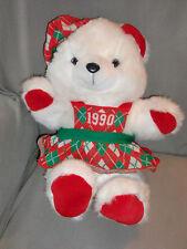"18"" 1986 VINTAGE 1990 KMART CHRISTMAS WHITE TEDDY BEAR STUFFED ANIMAL PLUSH TOY"