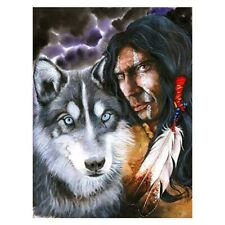 Full Drill 5D Diamond Painting Indian Man And Wolf Embroidery Cross Crafts Kits