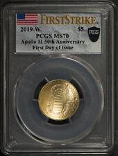2019-W APOLLO 11 50TH $5 Gold COMMEMORATIVE ** PCGS MS 70 ** 1st DAY Lot#R734