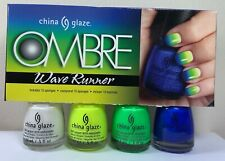CHINA GLAZE 4 Nail Polish * OMBRE Wave Runner * Complete Kit With Instruction