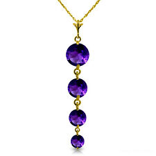14K. SOLID GOLD NECKLACE WITH NATURAL AMETHYST PENDANT