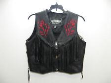 Unik Leather Biker Black Leather Fringe Vest Red Roses Ladies M Medium Free Ship