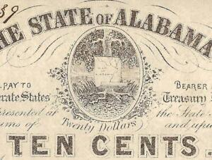 1863 ALABAMA MAP NOTE 10 CENT FRACTIONAL CURRENCY PAPER MONEY CIVIL WAR MONEY