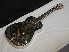 DEAN Resonator Chrome Gold Round-Neck acoustic electric slide GUITAR -Brass Body