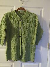 Kilronan Merino Wool Empire Waist 3/4 sleeve Aran sweater S Ireland $119 green