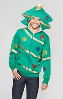 Men's Holiday Christmas Ugly Sweater Tree Hoodie Green Medium M Extreme Fleece