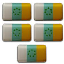 5x Pegatinas 3D Bandera de Canarias 7 Estrellas Verdes Rectangular