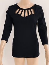 Cute Quality Fabric Guess Jet Black 3/4 Sleeve Top Size S