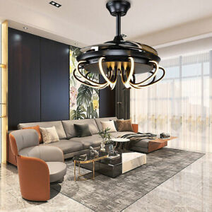 """Modern 42"""" Invisible Ceiling Fans with 3-Color LED Light Fan Chandelier & Remote"""