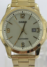 Casio Men's Stainless Steel Date Display Gold Dial Watch MTPVS02G-9A