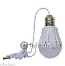 LAMPADINA LAMPADA LED USB 3W 5W 7W 5V LUCE BIANCA PORTATILE CAMPEGGIO EMERGENZA