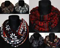 Soft stylish scarf  shawls Christmas Stars Reindeers infinity snood loop circle