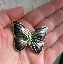 """Estate Butterfly Brooch Pin Purple Green Enamel 1.75"""""""
