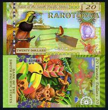 South Pacific States, $20, Rarotonga (Cook Islands) 2015, Polymer, UNC