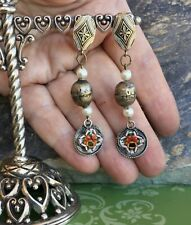 Earrings Assemblage Jewelry 1930 1940 Vintage Micro Mosaic Damascene Rose Dangle