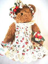 Avon Teddy Bear Plush 12in Strawberrie Hat Box Teddies Canada Excl Adoption Tag