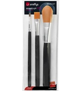 Fancy Dress Professional Make Up Face Paint Brushes x3 in Pack Brush Set Smiffys