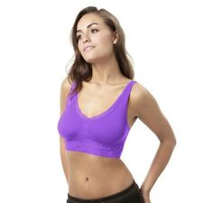 "BELVIA SHAPEWEAR SEAMLESS BRA SIZE SMALL (30-34"" CHEST) PURPLE WITH LACE DETAIL"