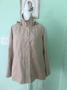 DENNIS BASSO Size M Womans Beige Rain Trench Coat Jacket with Removable Hood