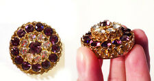 """Vintage Signed CORO Stacked Rhinestone Brooch Purple 3D Effect 1.25"""" Size EUC"""