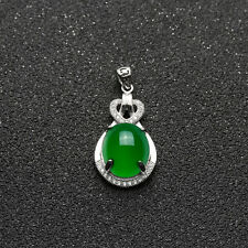 Natural Emerald Pendant Green Diamond Crystal Necklace Silver Plated Jewelry ym