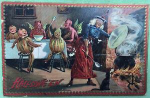 Halloween RARE Witch & Devils  Vintage 1910 Postcard