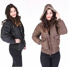 New Ladies Padded Quilted Bomber Jacket Womens Faux Fur Hooded Full Sleeve Coat