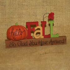 Hello Fall So Glad You Have Arrived  Resin Word Pumpkin Figurine Blossom Bucket