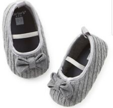 NWT Carter's Girls Gray Knit Mary Jane Shoes Sz 6/9 Month Slip On Bows