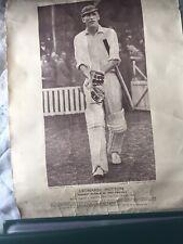 Cricket: Len Hutton 1938. 364 v Australia Picture And Diagram Of Scoring Shots.