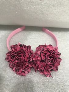 Girl's Shabby Sheek Headband Preowned Pink Band With Pink & Black Flowers
