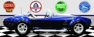 Shelby Cobra Blue Garage Scene Vinyl Banner.Two sizes