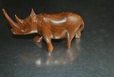 Wood Rhino Rhinoceros Figurine Hand Carved