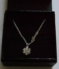 NWT Guess Silver Metal & Clear Rhinestones Flower Shaped Pendant Necklace, Boxed
