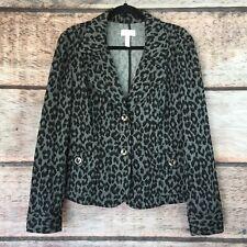 Women Size 8 Charter Club Blazer Coat Jacket Leopard Black 802126