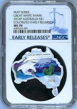 Australia MAP SHAPED COIN Great White Shark 2016 1 oz Silver Coin NGC MS70 ER