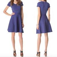Rebecca Taylor Sz XS Purple Runway knit dress short sleeve fit & flare stretch