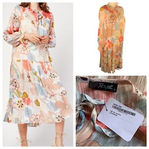 Ladies Coral Mix Dress Size XL (14/16) GDG ACTUEL Floral Long Sleeve NEW NWOT