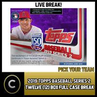 2019 TOPPS BASEBALL SERIES 2 12 BOX (FULL CASE) BREAK #A231 - PICK YOUR TEAM