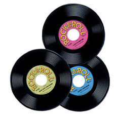 Rock and Roll Plastic Record - Pack of 3 - 50's Party Decoration - Music Records