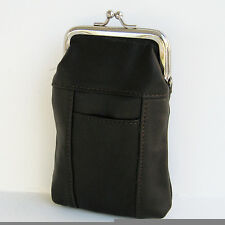 BLACK CIGARETTE Case Soft  pouch Leather Holder Wallet. Purse-C92810 Rare NR
