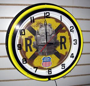 Railroad Crossing Sign Locomotive Train Union Pacific Engine Yellow Neon Clock