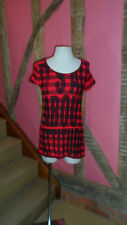 XS Red & Black Cap Sleeve T shirt Mini Dress by Izzue