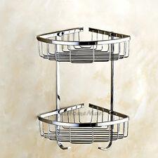 Bathroom 2 Tier Corner Shower Caddy Storage Basket Soap Shampoo Rack Bath Shelf