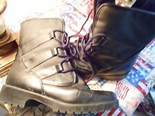 Women's Fur Lined Boots by Predictions, size 7 wide, Lace-up, Bla,ck, Thick sole
