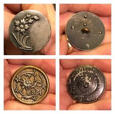 Lot of 2 Victorian Floral Metal Picture Buttons Antique Ornate