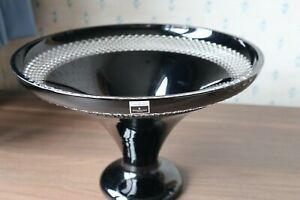 "A Waterford Crystal ""Black Cut"" Trumpet Bowl by John Rocha Pristine +Labels 22cm"