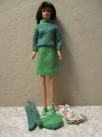 Deboxed reproduction mattel Francie Doll { Brunette in Green Outfit }