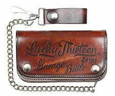 Lucky 13 Garage Built Brown Est 1991 Skull Chain Wallet Motorcycle Tattoo